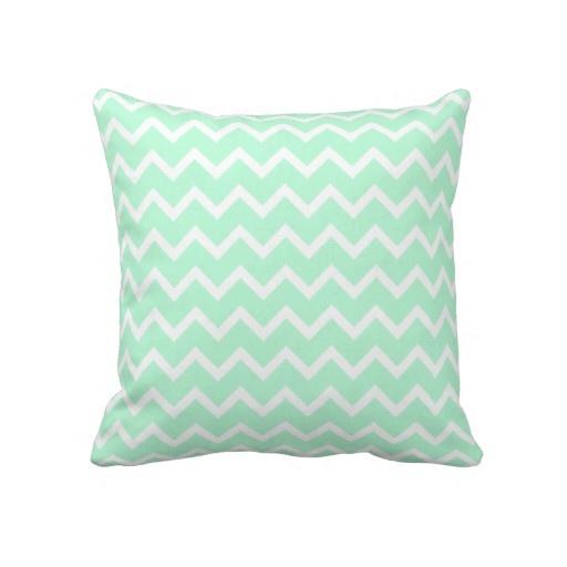 Mint Green Zigzag Stripes. Pillow