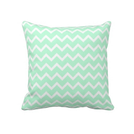 Mint Green Zigzag Stripes. Pillow