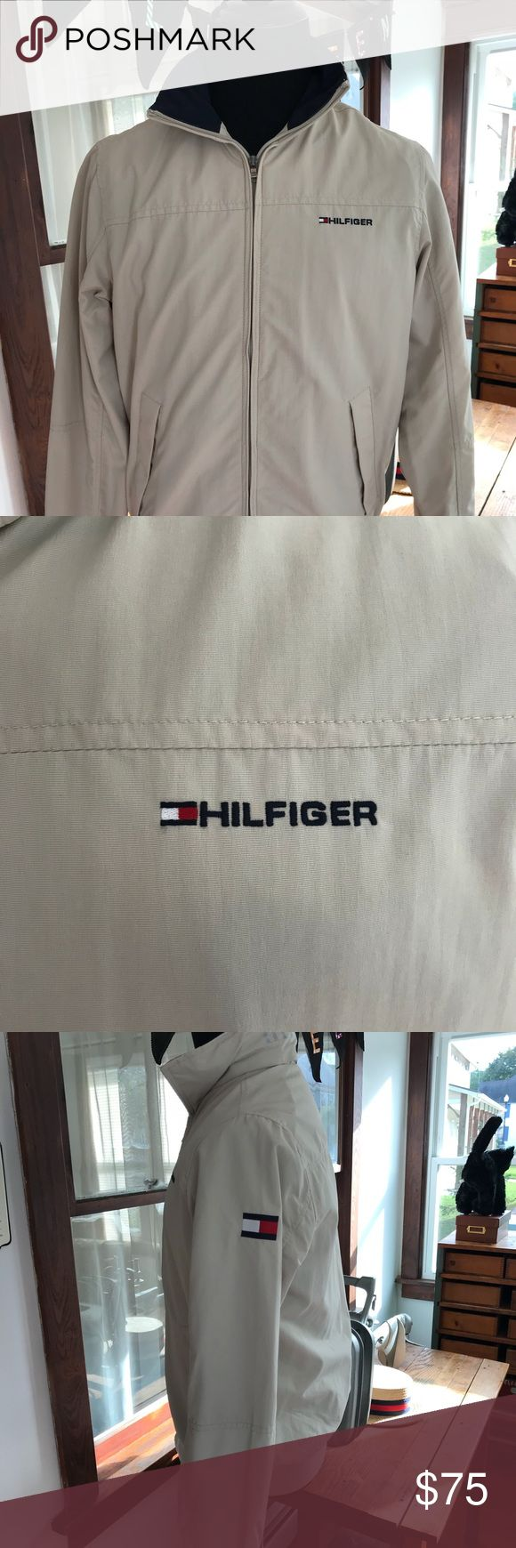 Tommy Hilfiger Yachting Jacket Like New Tommy Hilfiger Yachting Jacket Great Shape Clean Like New Beige Zipper Front Hood in Collar Tommy Hilfiger Jackets & Coats Performance Jackets