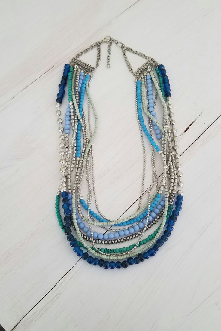 Excited to share the latest addition to my #etsy shop: Layered Multi-Colored Silver Tone Turquoise Green Blue Teal Faceted Bead Boho Long Bib Style Statement Necklace http://etsy.me/2BBQLx9 #jewelry #necklace #handmade #silver #layered #multicolor #multistrand #strand #turquoise