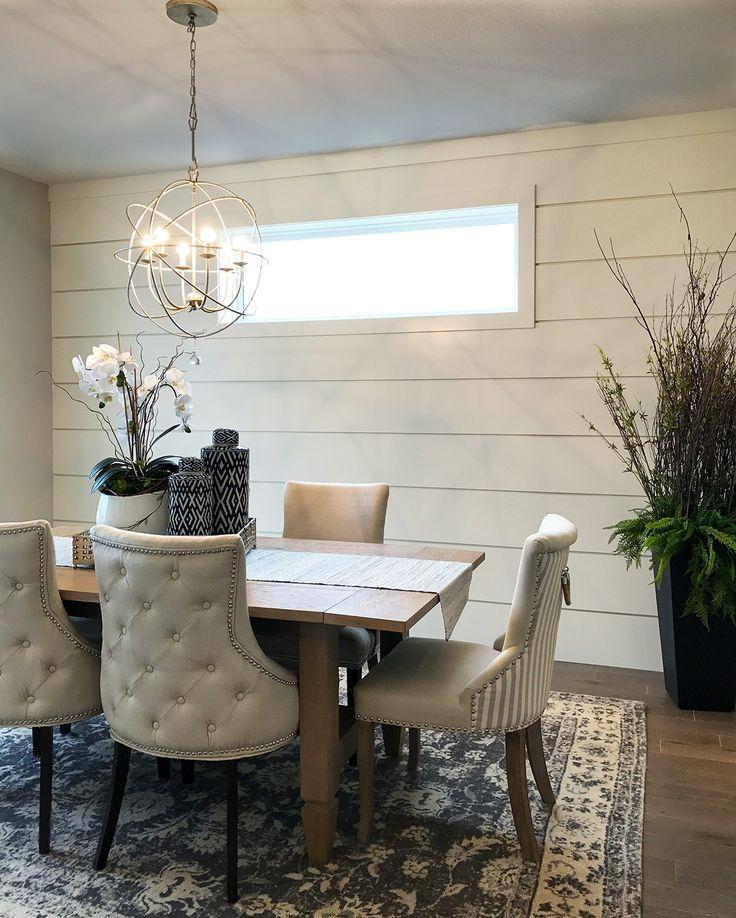 Dining Room With Shiplap Walls Clerestory Window