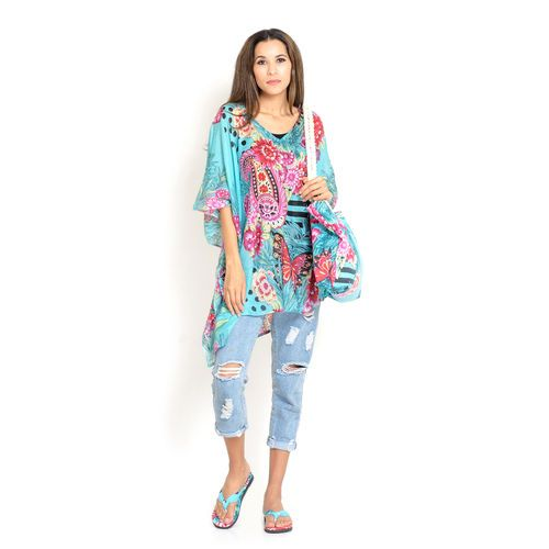 100% Cotton Red, Pink, Sky Blue and Multi Colour Floral and Leaves Printed Kaftan (Size 110x90 Cm), Bag (Size 50x40 Cm) and Flip Flops (Size 40(UK Size - 7)