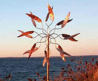 Spinning Leaves - Hypnartic Artwork Wind Sculptures & Garden Decor- Wind Sculptures, Kinetic Art - So relaxing to watch!