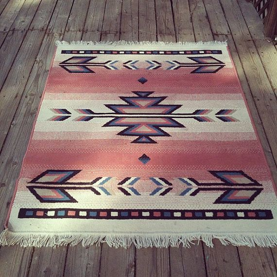 Vintage Pink Southwest Navajo Inspired Print Wool Area Rug. I love this it almost looks Native American great little piece to add to your room.