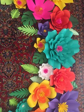 adb4e9fe2 Create this gorgeous 6x3 tropical paper flower backdrop. All flowers are  pre-cut with centers and base ready to be assembled. includes 17 cardstock  pre-cut ...