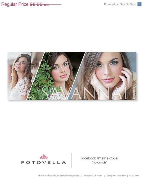 """Savannah"" Senior style Facebook timeline cover template with a bold fashion editorial vibe. Featuring preview images from Chubby Cheek Photography. Photoshop templates for pro photographers by FOTOVELLA"