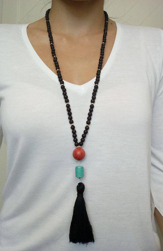 Lava Necklace Black NecklaceTassel NecklaceLong