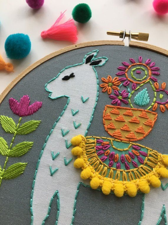 Llama Embroidery Kit Tassels And Pom Poms Hand