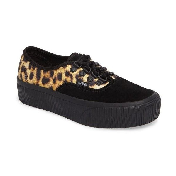 Women's Vans Authentic 2.0 Platform Sneaker ($65) ❤ liked on Polyvore featuring shoes, sneakers, platform trainers, punk sneakers, vans shoes, animal print shoes and print sneakers