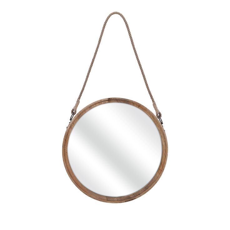 Look shipshape: A large nautically inspired mirror in wood is ready to pass muster.