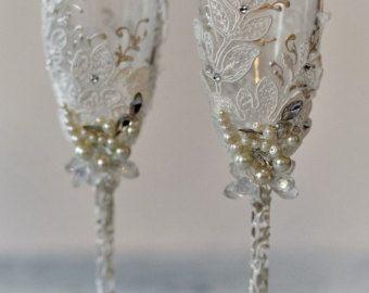 Personalized wedding flutes Wedding by WeddingBohemianChic on Etsy