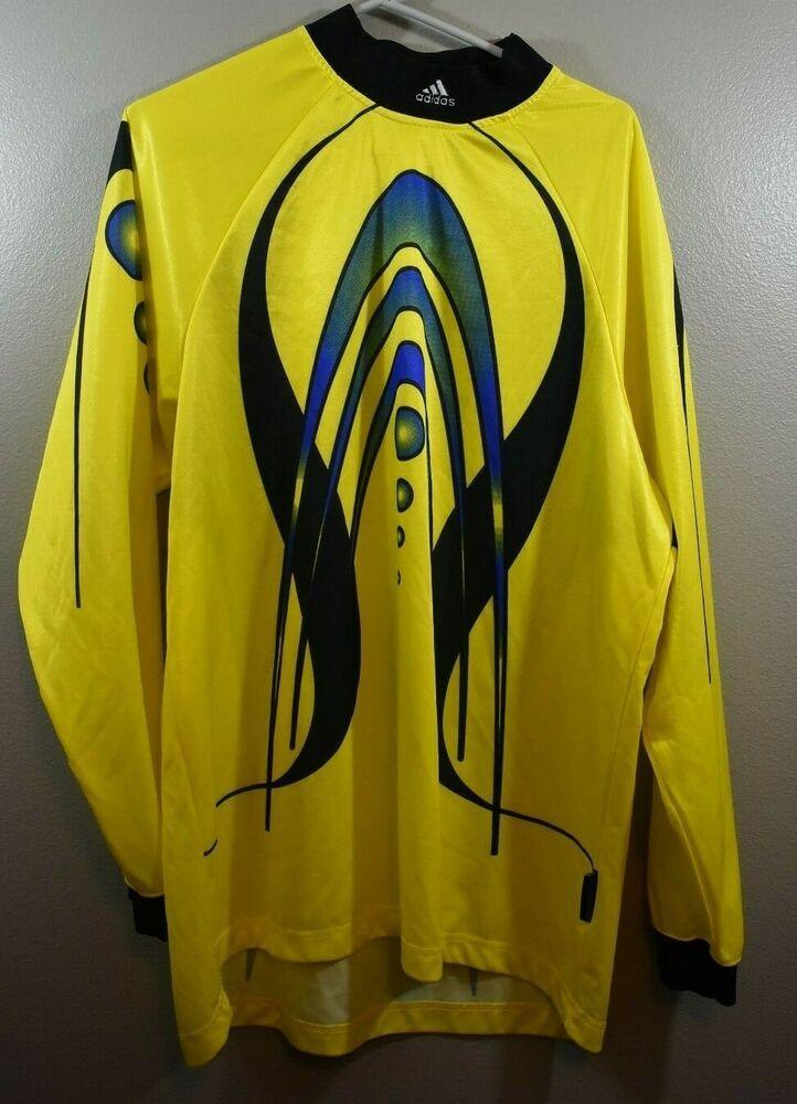 8b454b402 Adidas Size Large Mens Soccer Goalkeeper Shirt Yellow Black Long Sleeve Top  - Soccer Shirt