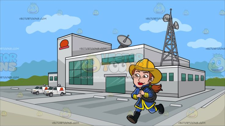 A Female Firefighter Running With A Fire Hose At Outside A Tv Station :  A woman with ponytailed brown hair wearing a yellow firefighter hat blue with yellow uniform gear black boots smirks while running as she carries a rolled gray fire hose on her left shoulder. Set in a building with light gray exterior walls a huge parking area antennas and satellites green glass windows and a red logo situated on an open area and surrounded by green trees in the background with blue sky.