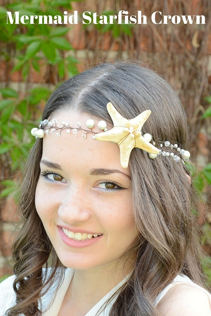 Lovely Real Starfish, crystals and faux Pearl Hair Vine. SUPER charming for your beach wedding. Mermaid Starfish Tiara, Beach Wedding Crown, Nautical Wedding Headpiece, Starfish Pearl headband, Bridal Hairpiece, Ariel halo, bridal hair vine #shellcrown #starfishcrown #beachweddinghair #mermaidheadpiece #mermaidcrown #coastalwedding
