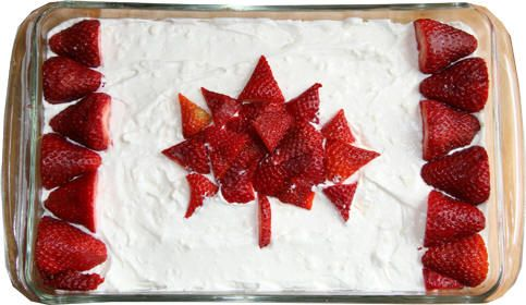Canadian Flag Cake - White cake or No Bake Cheese Cake versions, easy for kids!