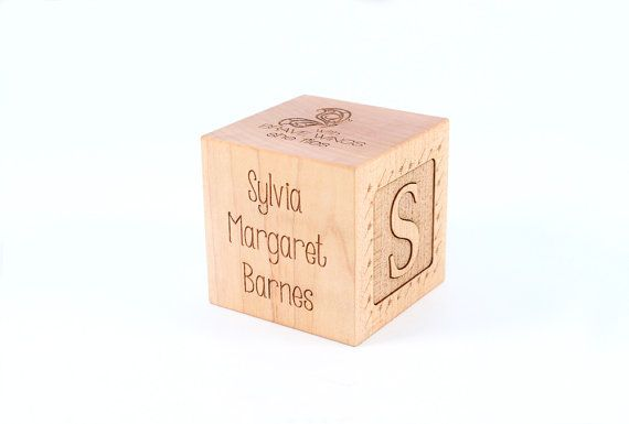 personalized GIRL BIRTH BLOCK - a solid hardwood heirloom gift with special birth details, extra large with six sides engraved