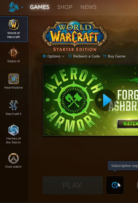 I want to play starter edition but it says my subscription expired? #worldofwarcraft #blizzard #Hearthstone #wow #Warcraft #BlizzardCS #gaming