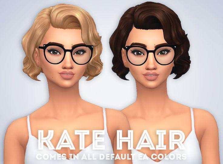 """ivo-sims: """" Kate Hair • Comes in all EA colors • Hat Compatible • Base-Game Compatible • Retexturing/Recoloring is allowed but don't include the mesh DOWNLOAD """""""