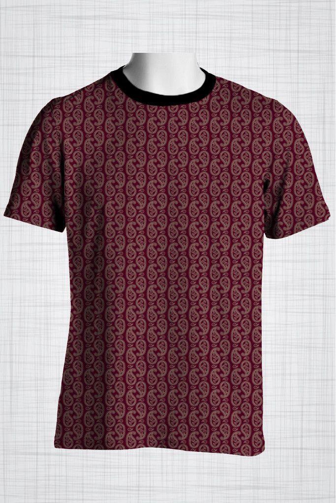 Plus Size Men's Clothing Full paisley print on a maroon t-shirt  #plussizemensclothin