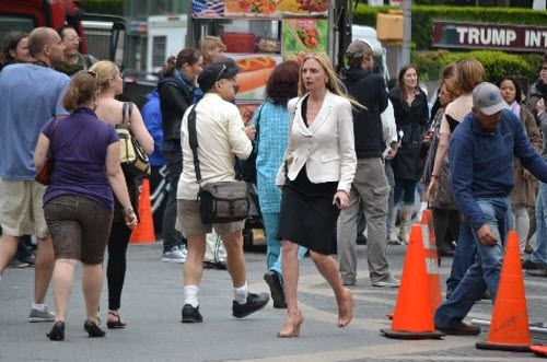 Extra in Central Park for The Newsroom with Emily Mortimer and Hope Davis (The blond next to Hope Davis)