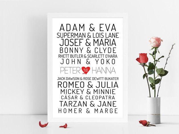 Kunstdruck Poster für Traumpaare, Geschenk fürs Brautpaar, Hochzeitsgeschenk / art print as wedding gift made by Prints Eisenherz via DaWanda.com