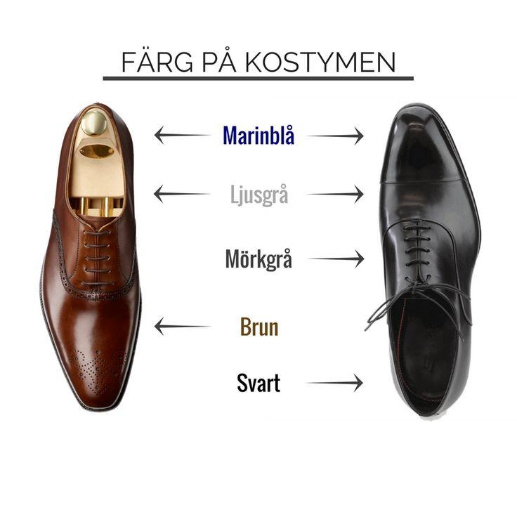 färg på skor till kostym blå svart grå brun
