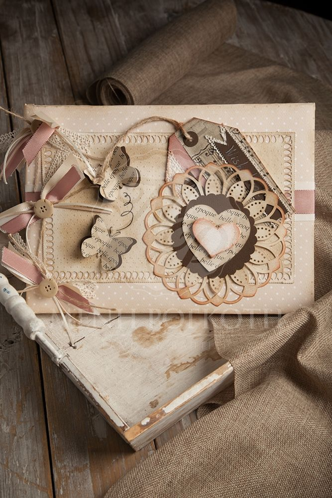 Exquisite handcrafted guest book in vintage style