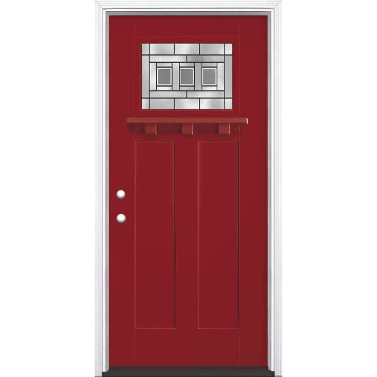 Masonite Craftsman Glass Craftsman Insulating Core Craftsman 1-Lite Right-Hand Inswing Roma Red Fiberglass Painted Prehung Entry Door (Common: 36-in x 80-in; Actual: 37.5-in x 81.5-in)