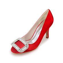 Closed toe dame satin kleid schuhe 6 cm med ferse mit kristall quadrat brosche für partei cocktail heels rot silber //Price: $US $42.30 & FREE Shipping //     #clknetwork