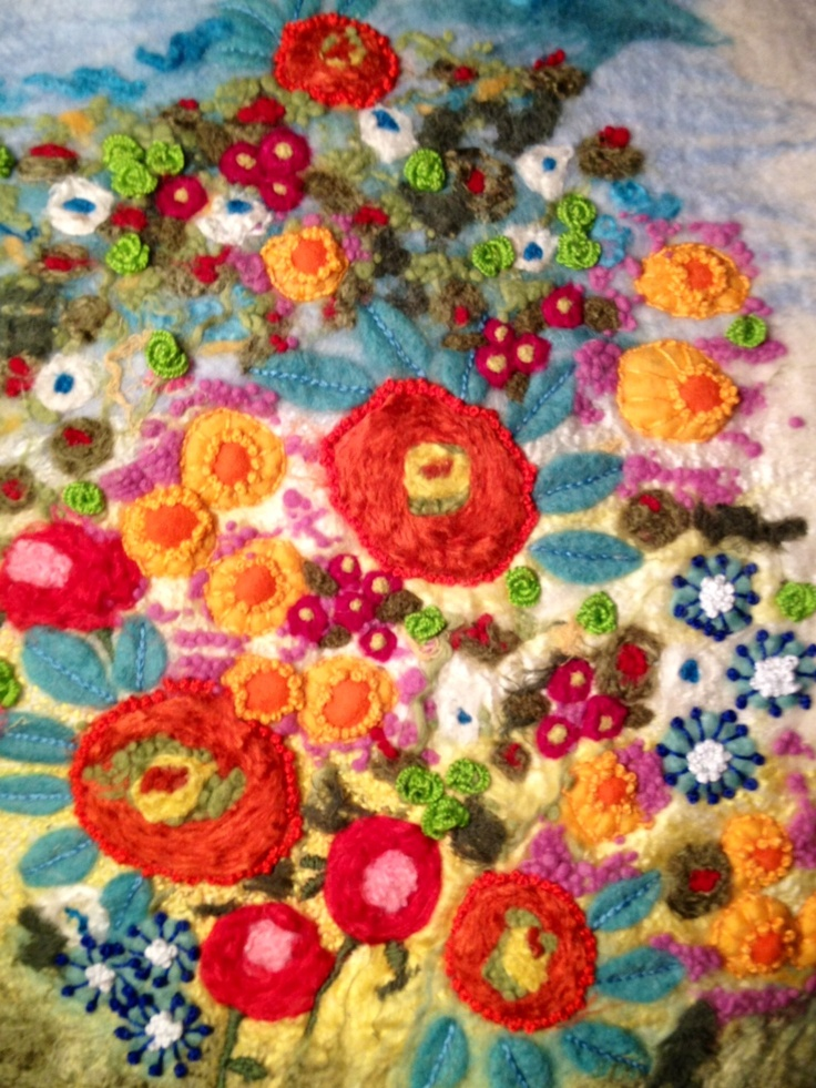 Wet felting and embroidery
