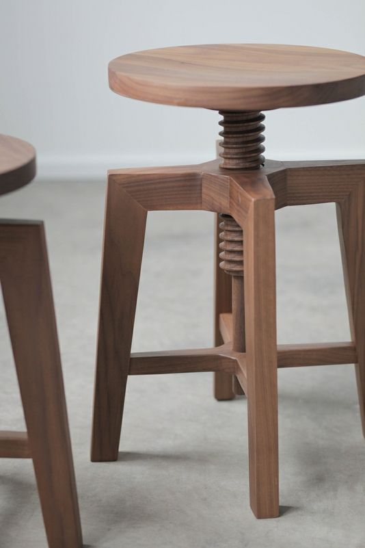 Custom Made Modern Adjustable Solid Walnut Stool
