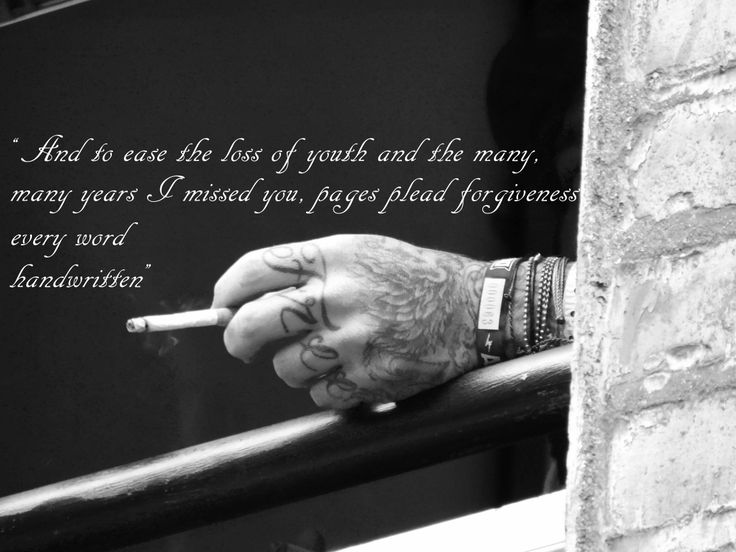 Amazing photo of Brian Fallon from The Gaslight Anthem's hand. Lyrics: 'Handwritten'