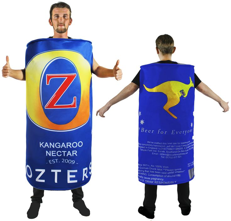 BEER CAN FANCY DRESS COSTUME OZTERS AUSTRALIAN BIG BEER CAN NOVELTY OUTFIT  BY ILOVEFANCYDRESS®