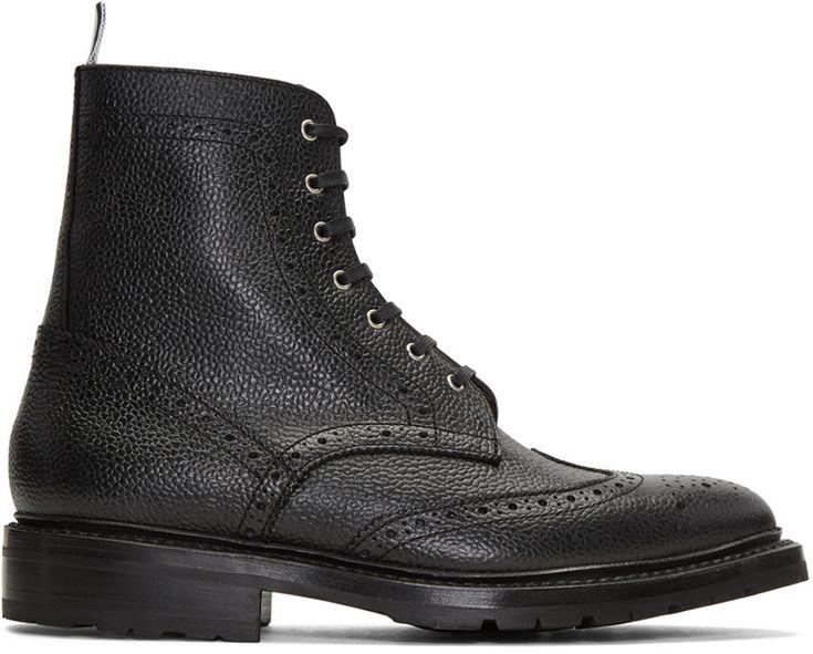 Thom Browne - Black Wingtip Boots