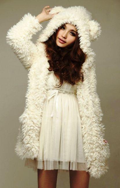 furry white bear coat