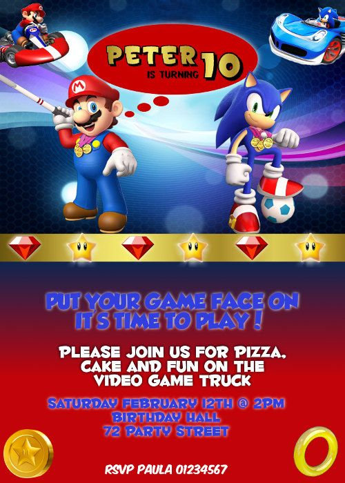 10 images about Julians Birthday – Sonic Birthday Invitations