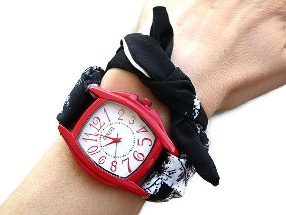 Womens Red Rectangular Bracelet Watch Black by HarmonyHourWatches