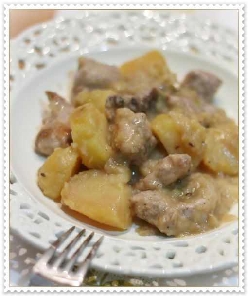 Stufato di maiale con patate rosse e mele 2