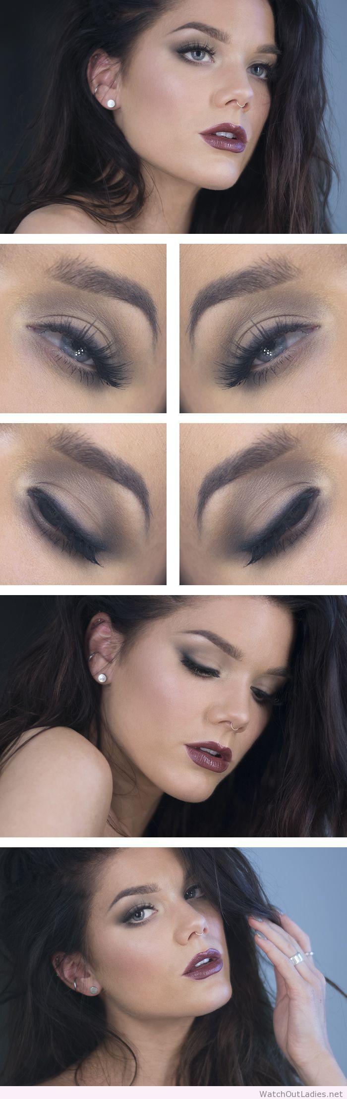 Linda Hallberg simple eye makeup and dark lips