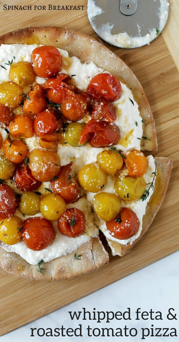Our Whipped Feta and Roasted Cherry Tomato Pizza is the perfect way to get your fresh Italian pizza pie fix, healthfully! With whipped feta and parmesan topped with herbs, roasted tomatoes, and a gluten free or whole wheat crust, this recipe just hits the spot! It's so fresh, healthy, optional gluten free, and requires no sauce! So easy and delish, enjoy! :)