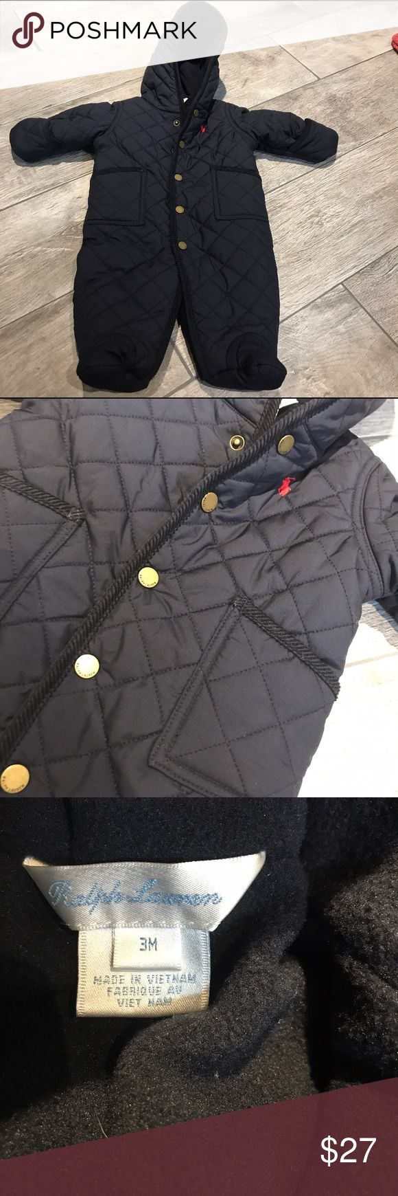 Baby boy's Ralph Lauren snow suit Navy, diamond quilted snow suit. With full snap buttons, attached mittens and booties. Like new! Ralph Lauren Jackets & Coats