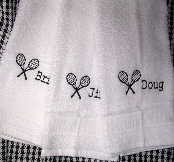 Sweat Towels Sign: Simple Personalized Tennis Racket Sweat Towel By