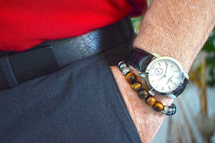 Mens beaded bracelet, made with 10mm Tigers Eye and Hematite Gemstone beads and 2 silvertone metal separator beads.