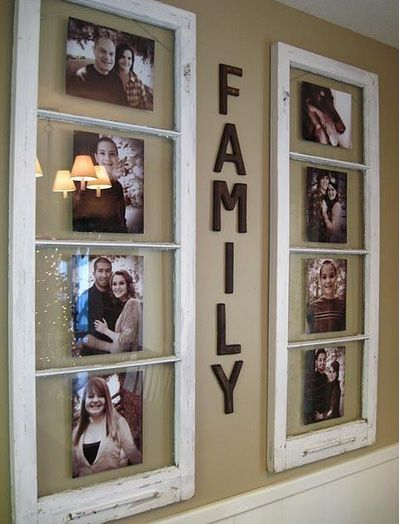 cute family photos frames. This idea could work in any room of the house. For the kitchen you could put pictures/paintings of fruit.