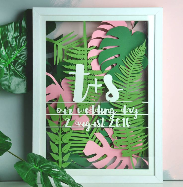 personalised tropical leaf multi layered papercut by the portland co | notonthehighstreet.com