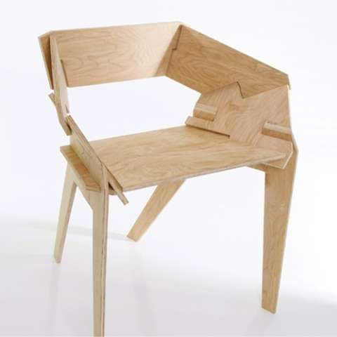 Plywood snap-together chair