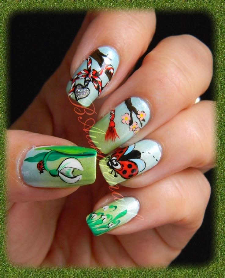 nail-art martisor , coccinelle , et perce-neige