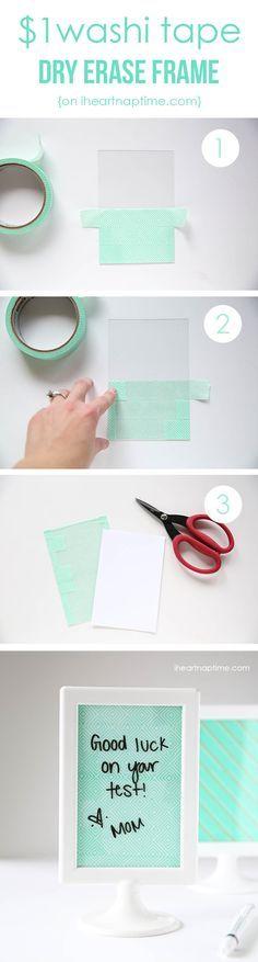 DIY Cheap Washi Tape Frame Ideas by DIY Ready at  http://diyready.com/100-creative-ways-to-use-washi-tape/