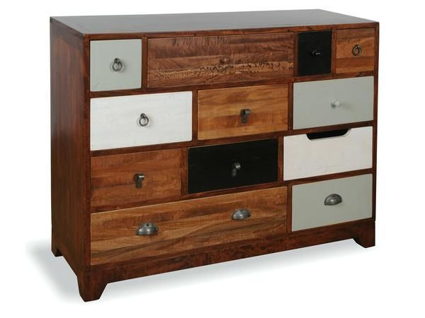 A charming and eclectic vintage style chest of drawers, with multiple coloured, natural hardwood drawers, and differing styles of handles.