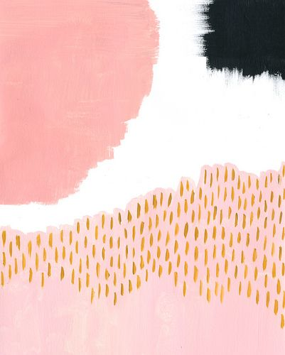 Abstract wall art - pink, black, white and gold. // Living room // Desk // Wall art